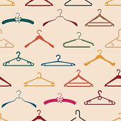 Seamless pattern with different hangers, vintage style