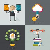 Set of flat design concept images for infographics, business, web, ecology, mobile marketing, learning