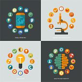 Set of flat design concept images for infographics, business, web