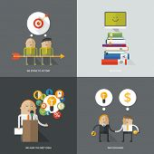 Set of flat design concept images for infographics, business, web, education, parnership,