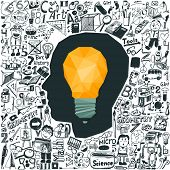 Education concept - light bulb & doodle set