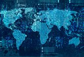 Background conceptual blue image of world map