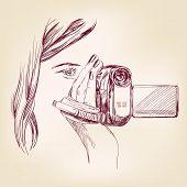 videographer hand drawn vector llustration