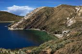 Bay on Isla del Sol in Lake Titicaca Bolivia