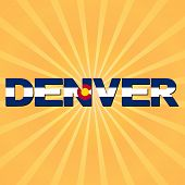 Denver flag text with sunburst illustration