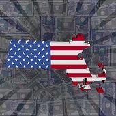 Massachusetts map flag on dollars sunburst illustration