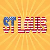 St Louis flag text with sunburst illustration