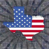 Texas map flag on dollars sunburst illustration