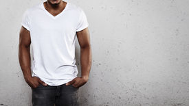 picture of apparel  - Young african man wearing white blank t - JPG