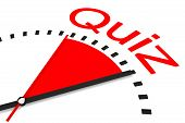 stock photo of countdown  - clock with red area countdown quiz illustration - JPG