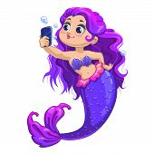 pic of mermaid  - Little cartoon mermaid with long violet hair makes selfie - JPG