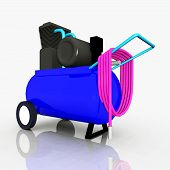 image of air compressor  - Computer generated 3D illustration with an air compressor - JPG