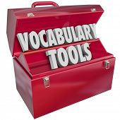 stock photo of dialect  - Vocabulary Tools 3d words in a red metal toolbox to illustrate education and learning new language words and terms - JPG