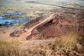 stock photo of dump  - red dump waste rock from coal mine Komsomolskaya city Kopeysk - JPG
