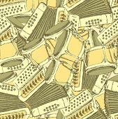 image of accordion  - Sketch bongos and accordion in vintage style vector seamless pattern - JPG