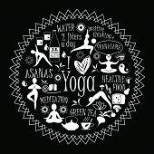 picture of pranayama  - Vector illustration of yoga lifestyle - JPG