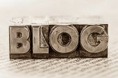 picture of blog icon  - the word blog written with lead letters - JPG