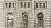 stock photo of downspouts  - The facade of the building railway station in Baku - JPG