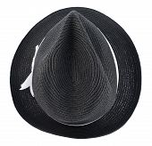 image of fedora  - Fedora like black hat with a white tape isolated over white background - JPG