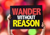 stock photo of wander  - Wander Without Reason card with bokeh background - JPG