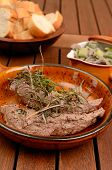 foto of spring lambs  - Filet of lamb with fried mushrooms and spring onions - JPG