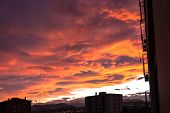 stock photo of turin  - A spectacular sunset over the City of Turin - JPG