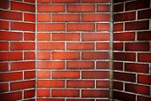 picture of chimney  - Red brick corner with slanted walls - JPG