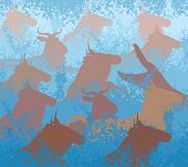 stock photo of wildebeest  - Cutout illustration of wildebeest on migration crossing a large river with a crocodile - JPG