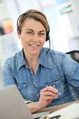 picture of stressless  - Active woman teleworking from home - JPG
