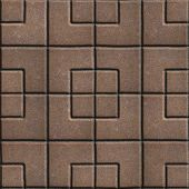 picture of paving  - Brown Concrete Paving Slabs in Form of Squares Different Sizes - JPG
