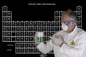 foto of reaction  - Scientist holding a toxic chemical reaction in front of the periodic table of elements - JPG