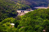 foto of hydro-electric  - The reservoir and hydraulic power plant Dalesice in the Czech republic - JPG