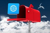 stock photo of postbox  - Red email postbox against night sky - JPG