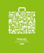Travel icons in the form of a bag. Travel background infographic. Travel concept with stylish icons. poster