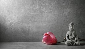 pic of godly  - Buddha in meditation with magnolia flower - JPG