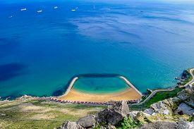 stock photo of gibraltar  - The rock of Gibraltar and Strait of Gibraltar - JPG