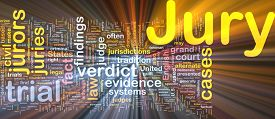 picture of jury  - Background text pattern concept wordcloud illustration of jury glowing light - JPG
