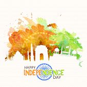 stock photo of indian independence day  - Illustration of famous Indian monuments on saffron and green color splash floral background for Happy Independence Day celebration - JPG