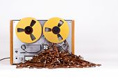 picture of messy  - Open Reel Tape Deck Recorder Player with Messy Entangled Tape - JPG