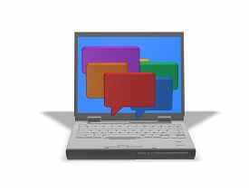 foto of chat  - on line chatting with laptop and chat colorful chat bubbles isolated illustration - JPG