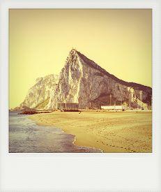 picture of gibraltar  - Instant photo of Gibraltar as seen from the beach of La Atunara in La Linea de la Concepcion - JPG