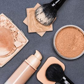 stock photo of foundation  - Set of makeup products to even out skin tone and complexion - JPG
