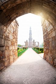 stock photo of qutub minar  - Qutub Minar tower view from the arch in Delhi India - JPG