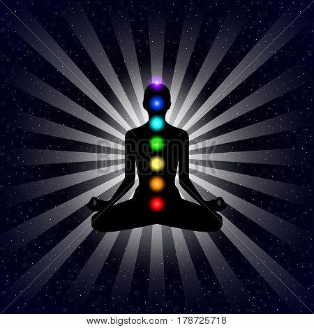 meditation design concept silhouette in lotus position