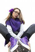 Intriguing Teen Dressed In Purple