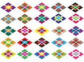 foto of parallelogram  - The symmetry ornament with different color parallelograms - JPG