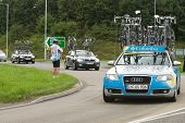 TELFORD, UK - SEPTEMBER 10: Tour of Britain Cycle Race - Support Vehicles Follow the Racers During S