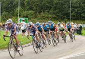 TELFORD, UK - SEPTEMBER 10: Tour of Britain Cycle Race - Team Columbia in the Chase Pack 2 mins Behi