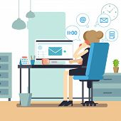 Woman Secretary Or Female Personal Assistant Busy. Young Office Manager Or Receptionist Multitasking poster