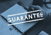 Hand stamp on the notebook and guarantee stamp icon poster